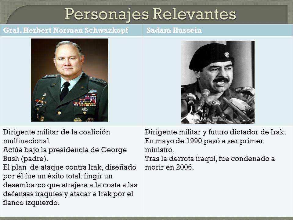Gral.Herbert Norman Schwazkopf Sadam Hussein Dirigente militar de la coalición multinacional.