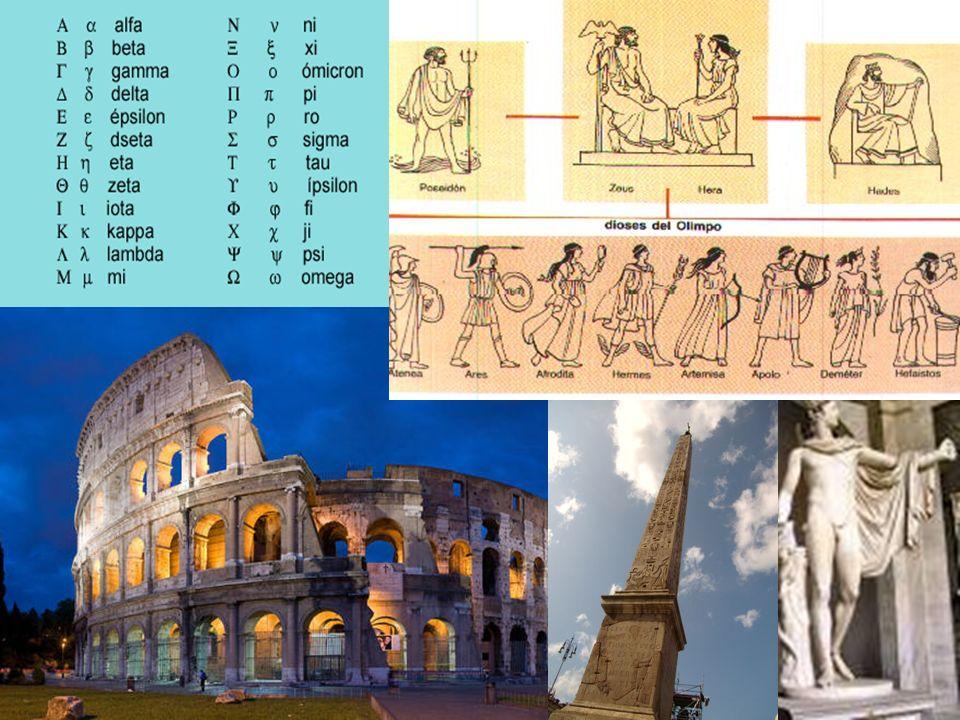 Grecia y Roma Su expansionismo les permitió absorber diversas culturas. Comenzaron con la escritura usando letras. Su civilización se basaba en la maj