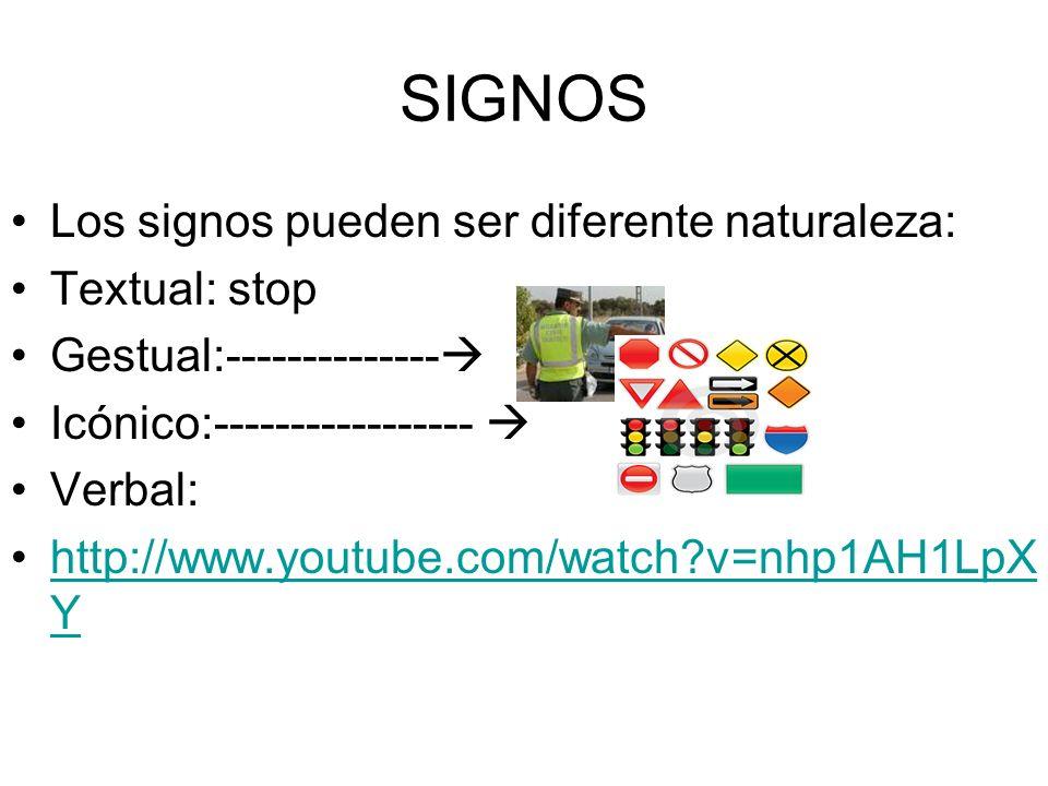 SIGNOS Los signos pueden ser diferente naturaleza: Textual: stop Gestual:-------------- Icónico:----------------- Verbal: http://www.youtube.com/watch