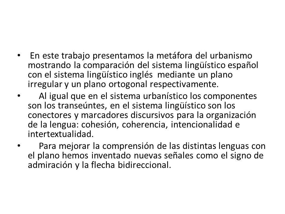 En este trabajo presentamos la metáfora del urbanismo mostrando la comparación del sistema lingüístico español con el sistema lingüístico inglés media