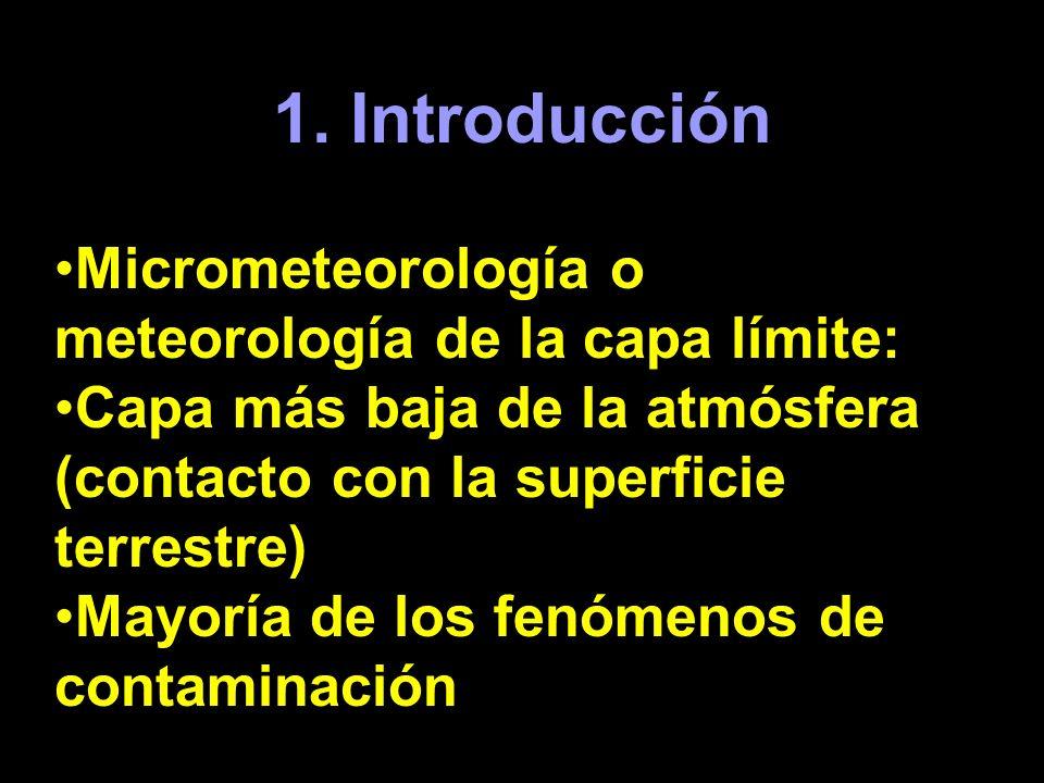 1. Introducción Micrometeorología o meteorología de la capa límite: Capa más baja de la atmósfera (contacto con la superficie terrestre) Mayoría de lo