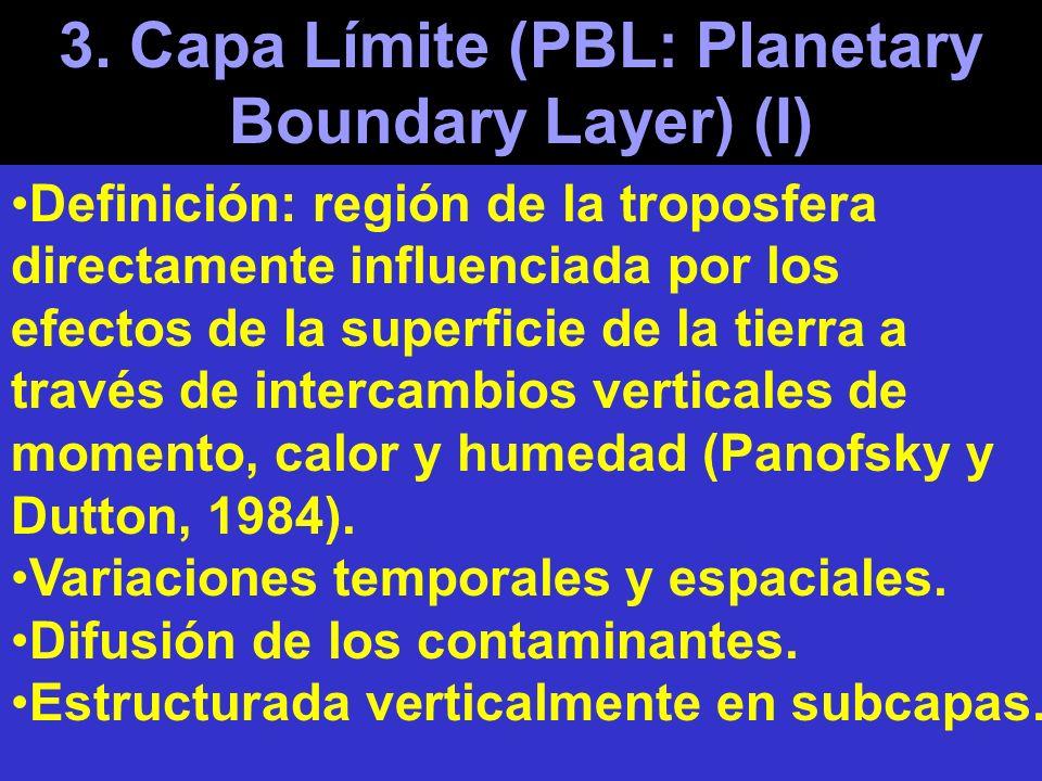 3. Capa Límite (PBL: Planetary Boundary Layer) (I) Definición: región de la troposfera directamente influenciada por los efectos de la superficie de l