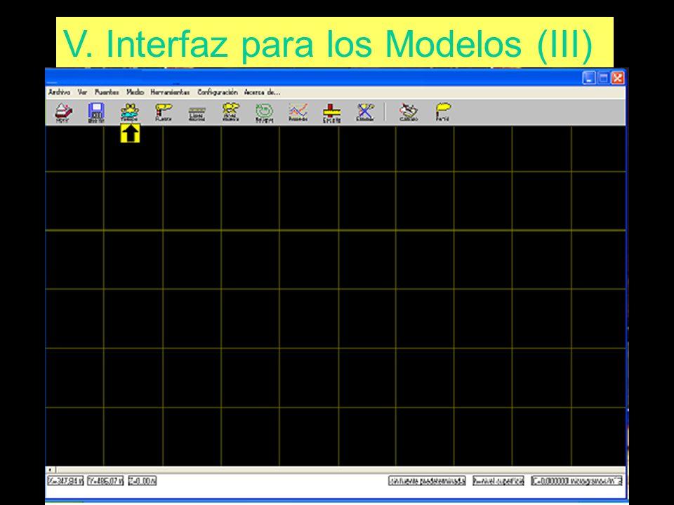 V. Interfaz para los Modelos (III)