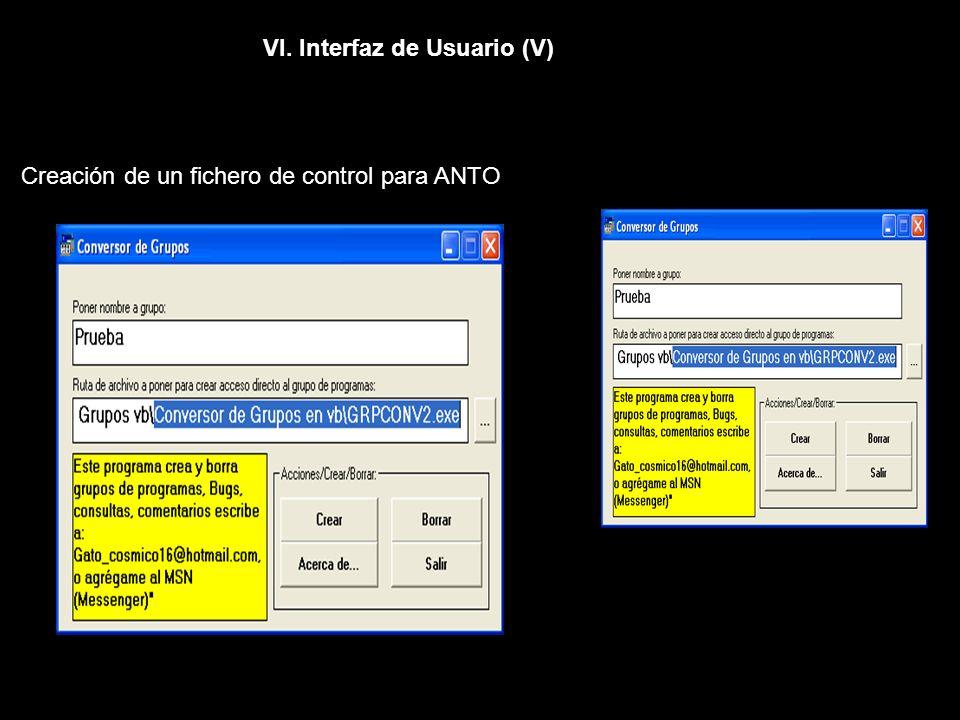 VI. Interfaz de Usuario (V) Creación de un fichero de control para ANTO
