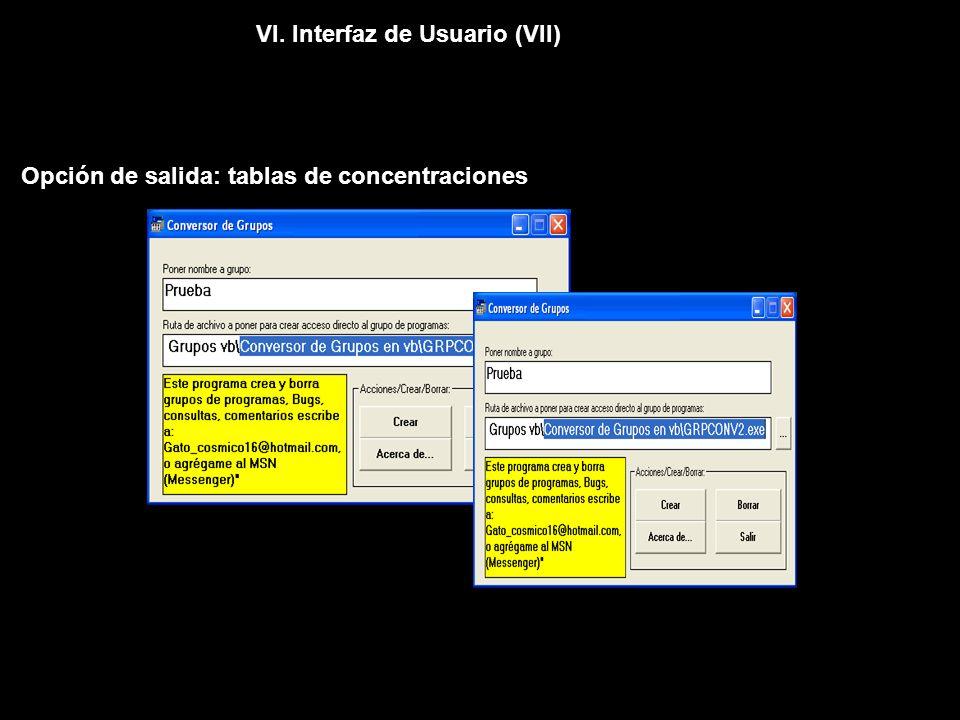 VI. Interfaz de Usuario (VII) Opción de salida: tablas de concentraciones