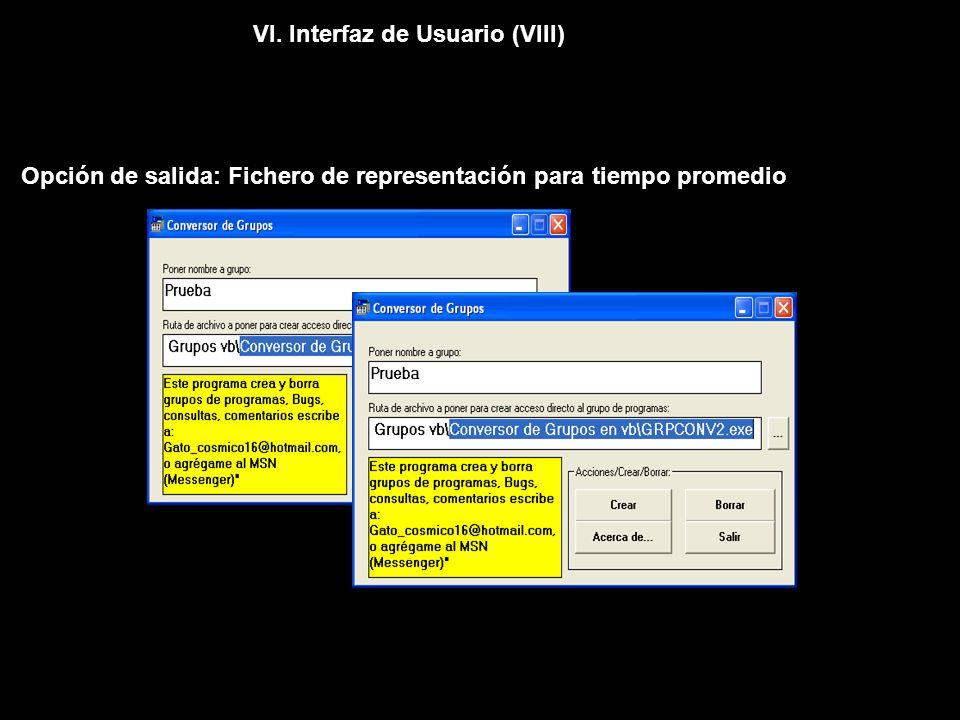 VI. Interfaz de Usuario (VIII) Opción de salida: Fichero de representación para tiempo promedio