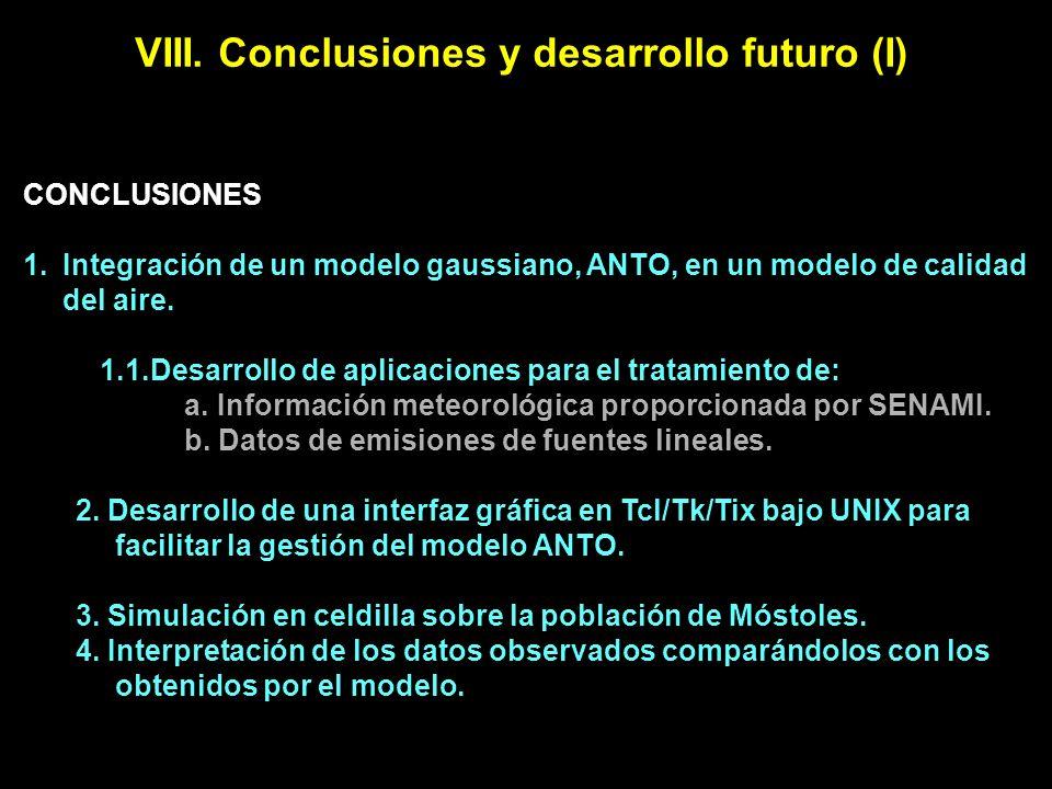 VIII. Conclusiones y desarrollo futuro (I) CONCLUSIONES 1.Integración de un modelo gaussiano, ANTO, en un modelo de calidad del aire. 1.1.Desarrollo d