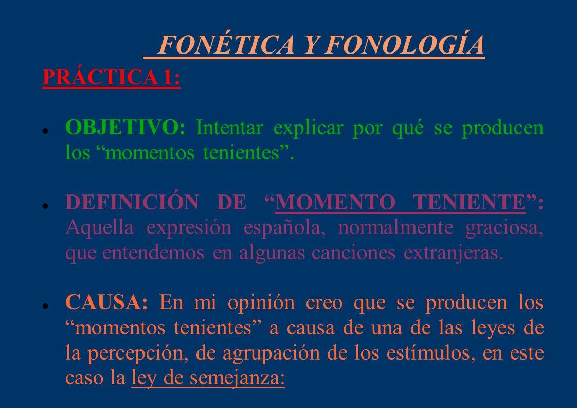 FONÉTICA Y FONOLOGÍA PRÁCTICA 1: OBJETIVO: Intentar explicar por qué se producen los momentos tenientes. DEFINICIÓN DE MOMENTO TENIENTE: Aquella expre