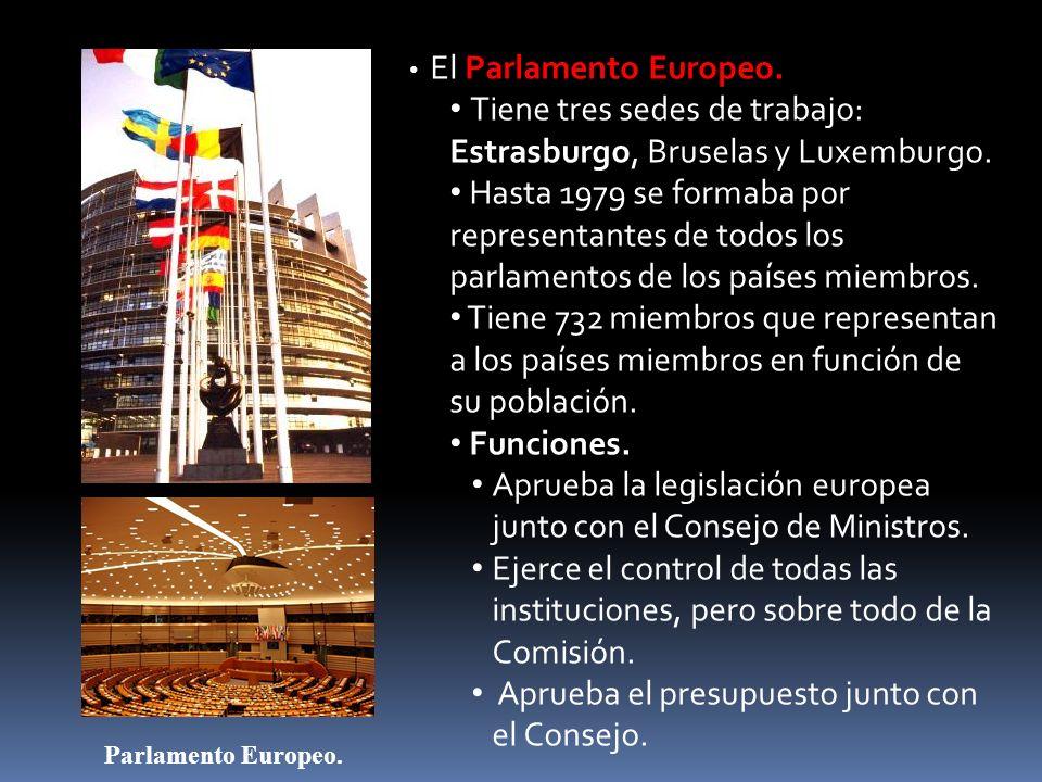 El Parlamento Europeo. Tiene tres sedes de trabajo: Estrasburgo, Bruselas y Luxemburgo. Hasta 1979 se formaba por representantes de todos los parlamen