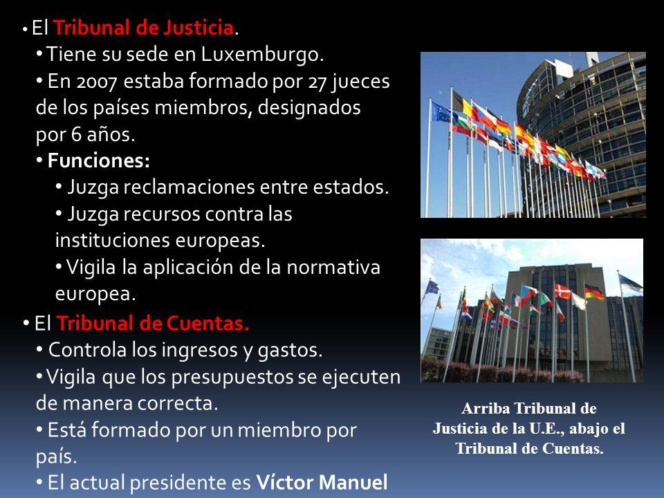 El Tribunal de Justicia. Tiene su sede en Luxemburgo. En 2007 estaba formado por 27 jueces de los países miembros, designados por 6 años. Funciones: J