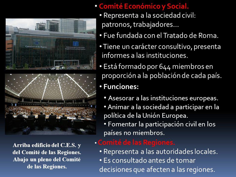 Comité Económico y Social. Representa a la sociedad civil: patronos, trabajadores… Fue fundada con el Tratado de Roma. Tiene un carácter consultivo, p