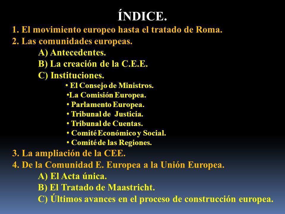ÍNDICE. 1. El movimiento europeo hasta el tratado de Roma. 2. Las comunidades europeas. A) Antecedentes. B) La creación de la C.E.E. C) Instituciones.