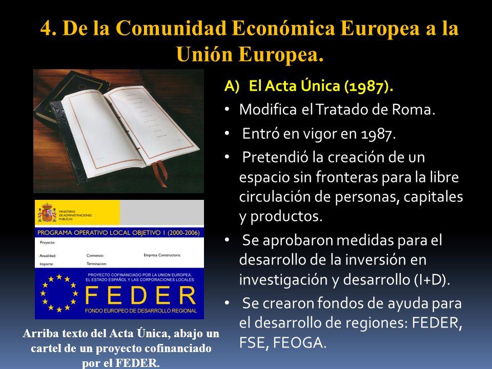 4. De la Comunidad Económica Europea a la Unión Europea. A)El Acta Única (1987). Modifica el Tratado de Roma. Entró en vigor en 1987. Pretendió la cre