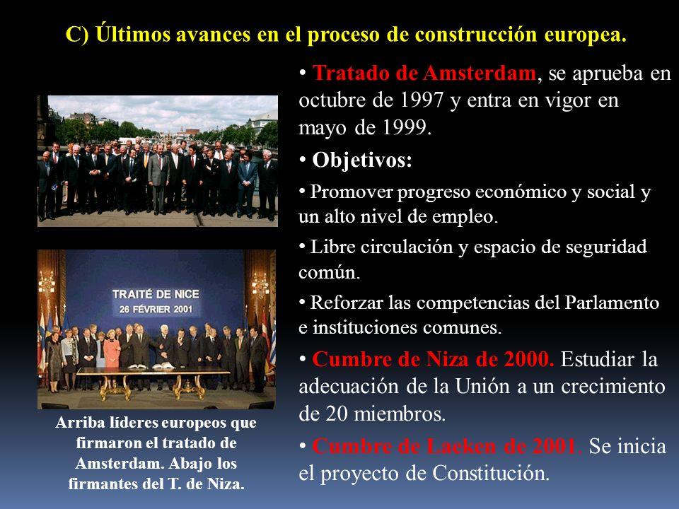 C) Últimos avances en el proceso de construcción europea. Tratado de Amsterdam, se aprueba en octubre de 1997 y entra en vigor en mayo de 1999. Objeti