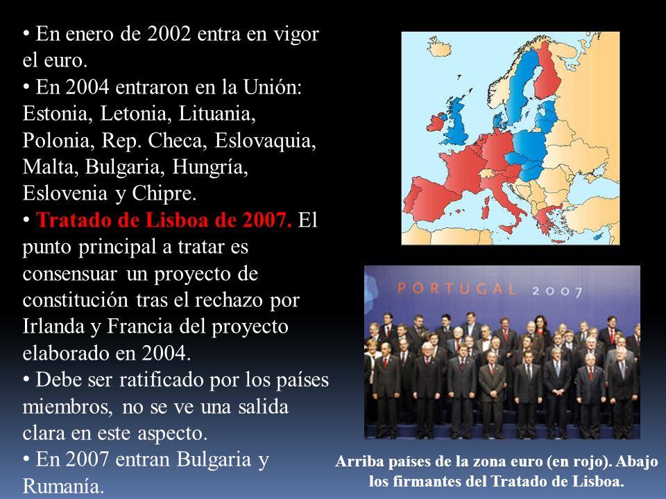 En enero de 2002 entra en vigor el euro. En 2004 entraron en la Unión: Estonia, Letonia, Lituania, Polonia, Rep. Checa, Eslovaquia, Malta, Bulgaria, H