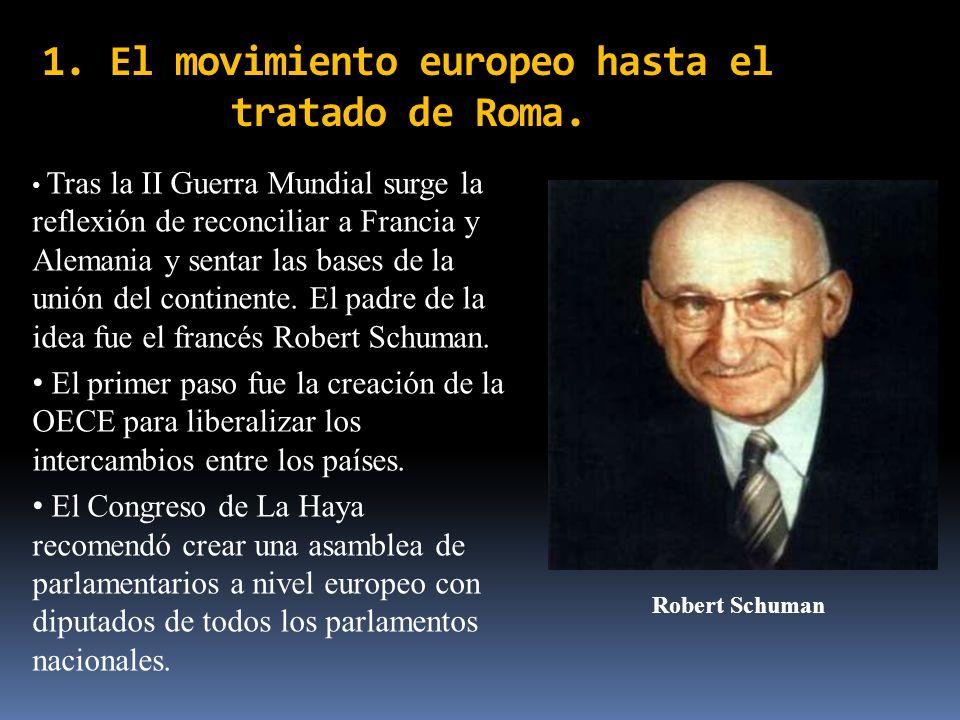 1. El movimiento europeo hasta el tratado de Roma. Robert Schuman Tras la II Guerra Mundial surge la reflexión de reconciliar a Francia y Alemania y s