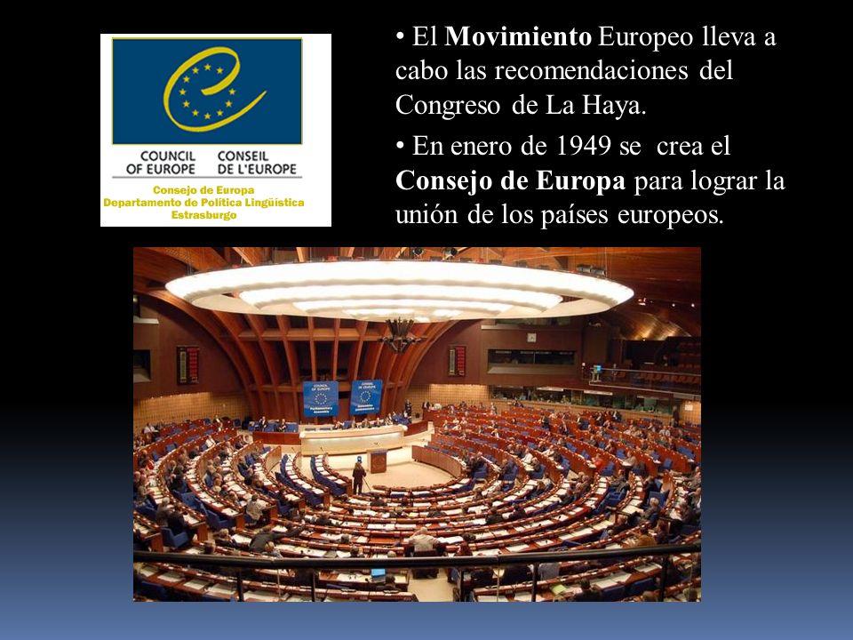 El Movimiento Europeo lleva a cabo las recomendaciones del Congreso de La Haya. En enero de 1949 se crea el Consejo de Europa para lograr la unión de