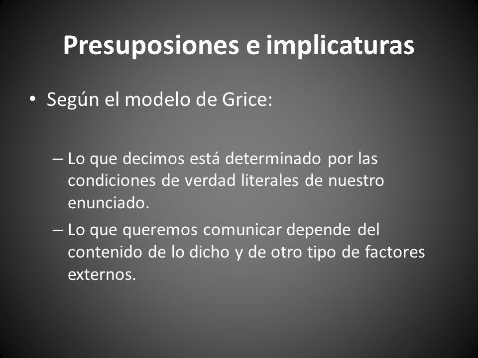 PRESUPOSICIÓN: derivadas directamente del significado semántico de las expresiones.
