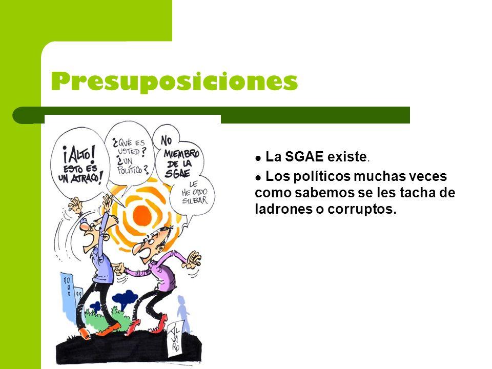 Presuposiciones La SGAE existe. Los políticos muchas veces como sabemos se les tacha de ladrones o corruptos.