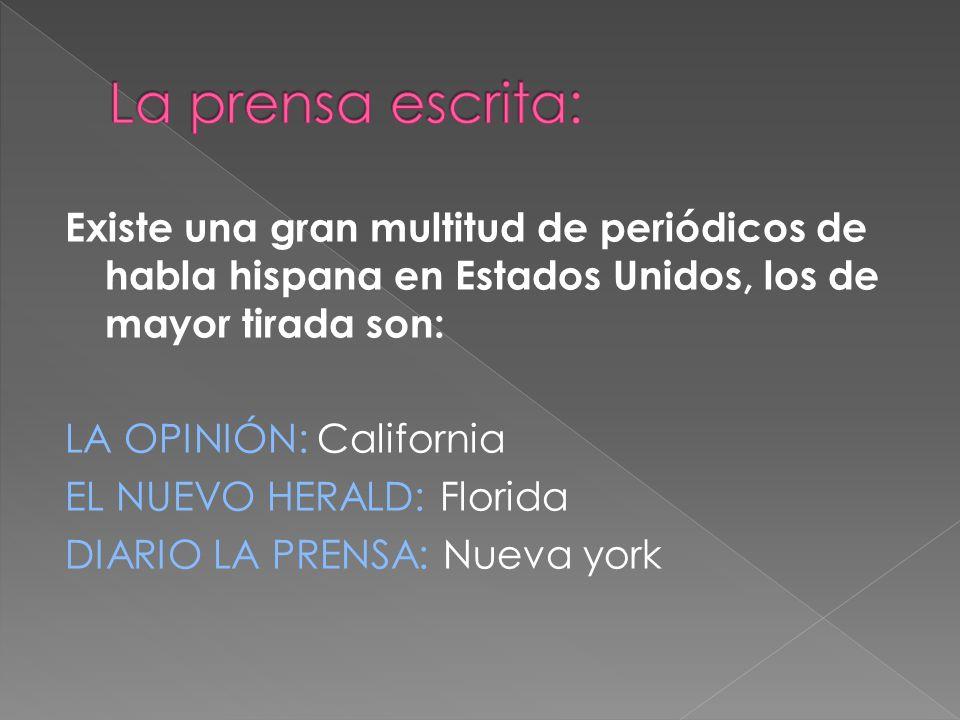 Existe una gran multitud de periódicos de habla hispana en Estados Unidos, los de mayor tirada son: LA OPINIÓN: California EL NUEVO HERALD: Florida DI