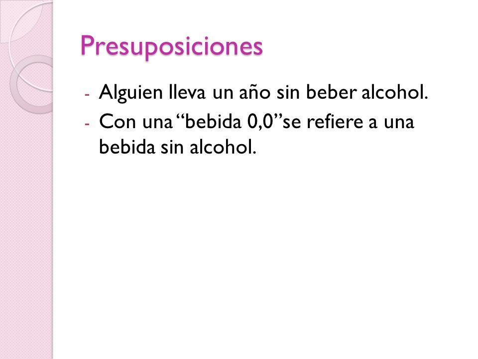 Presuposiciones - Alguien lleva un año sin beber alcohol.