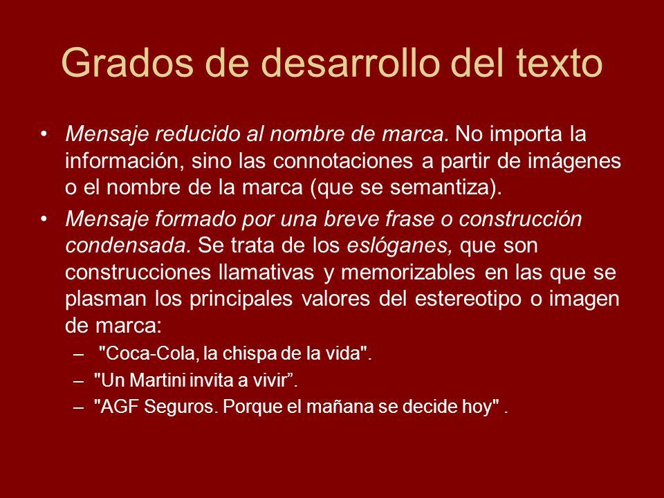 Grados de desarrollo del texto Mensaje reducido al nombre de marca. No importa la información, sino las connotaciones a partir de imágenes o el nombre