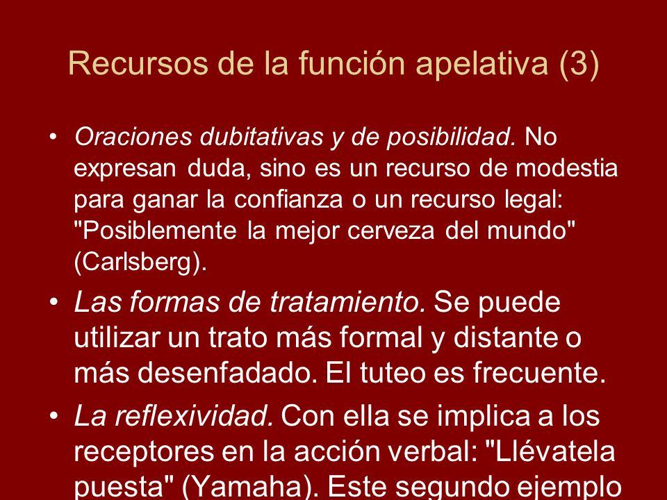 Recursos de la función apelativa (3) Oraciones dubitativas y de posibilidad. No expresan duda, sino es un recurso de modestia para ganar la confianza