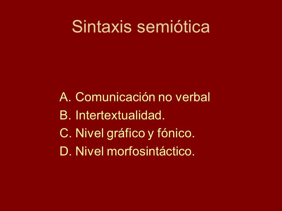 Sintaxis semiótica A.Comunicación no verbal B.Intertextualidad. C.Nivel gráfico y fónico. D.Nivel morfosintáctico.