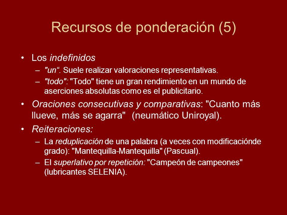 Recursos de ponderación (5) Los indefinidos –