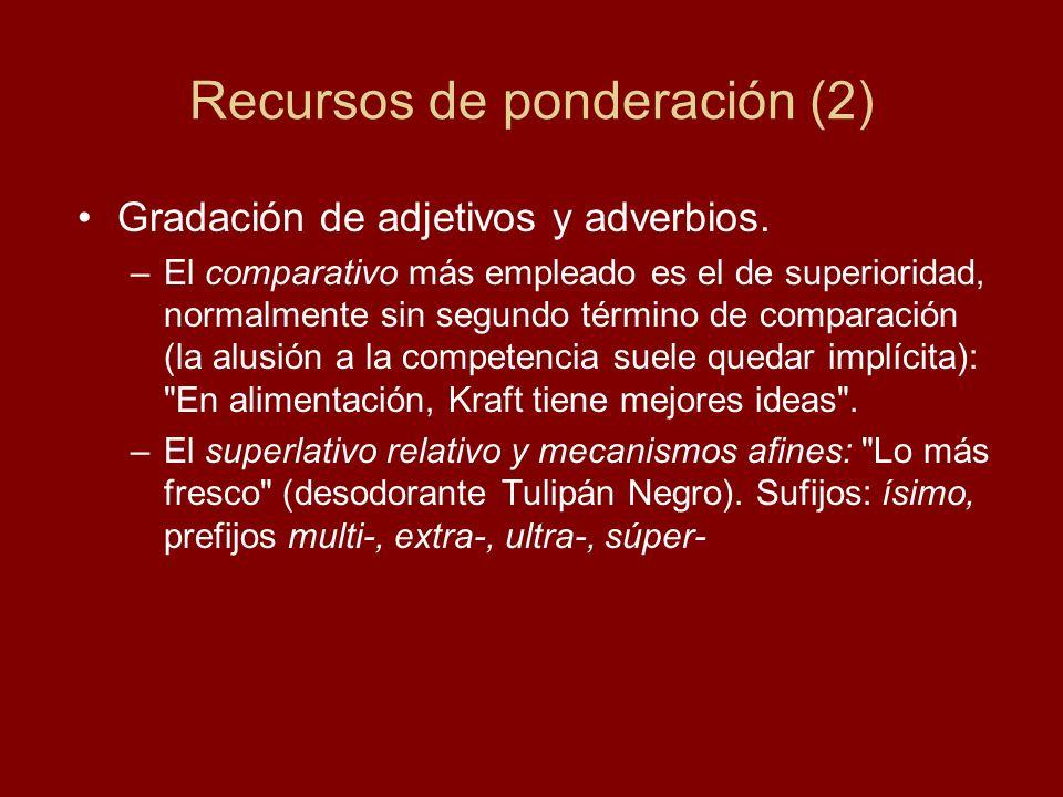 Recursos de ponderación (2) Gradación de adjetivos y adverbios. –El comparativo más empleado es el de superioridad, normalmente sin segundo término de