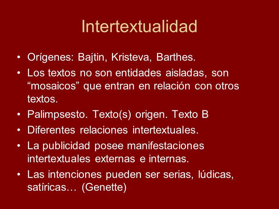 Intertextualidad Orígenes: Bajtin, Kristeva, Barthes. Los textos no son entidades aisladas, son mosaicos que entran en relación con otros textos. Pali