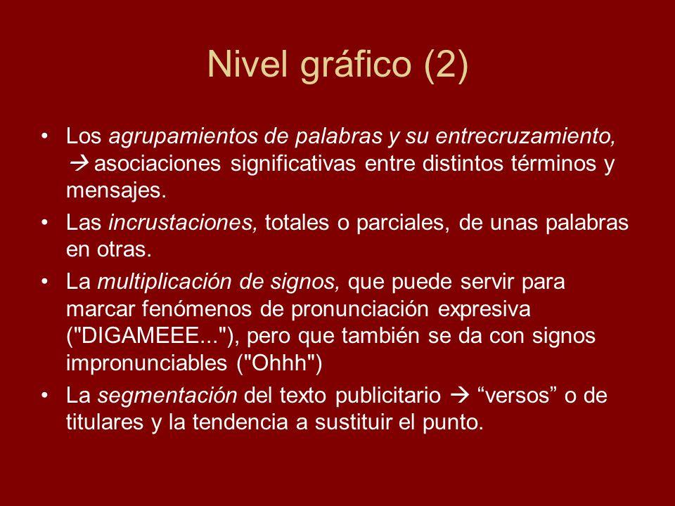 Nivel gráfico (2) Los agrupamientos de palabras y su entrecruzamiento, asociaciones significativas entre distintos términos y mensajes. Las incrustaci