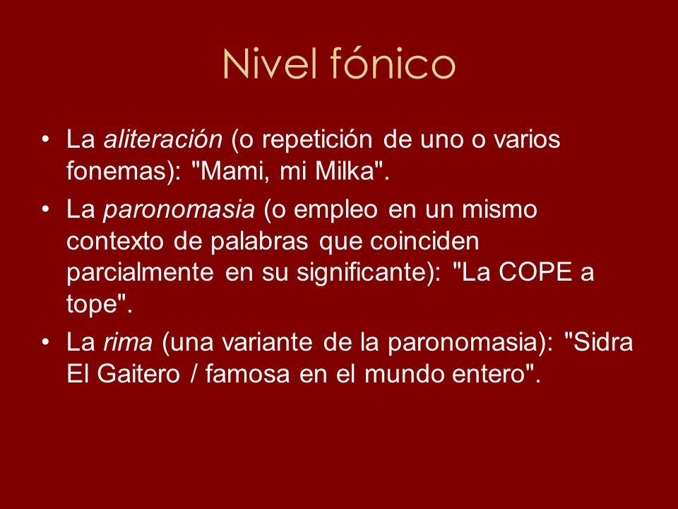 Nivel fónico La aliteración (o repetición de uno o varios fonemas):
