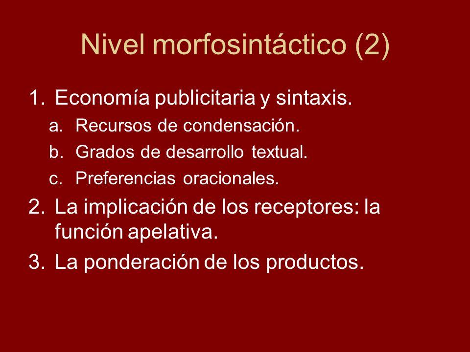 Nivel morfosintáctico (2) 1.Economía publicitaria y sintaxis. a.Recursos de condensación. b.Grados de desarrollo textual. c.Preferencias oracionales.