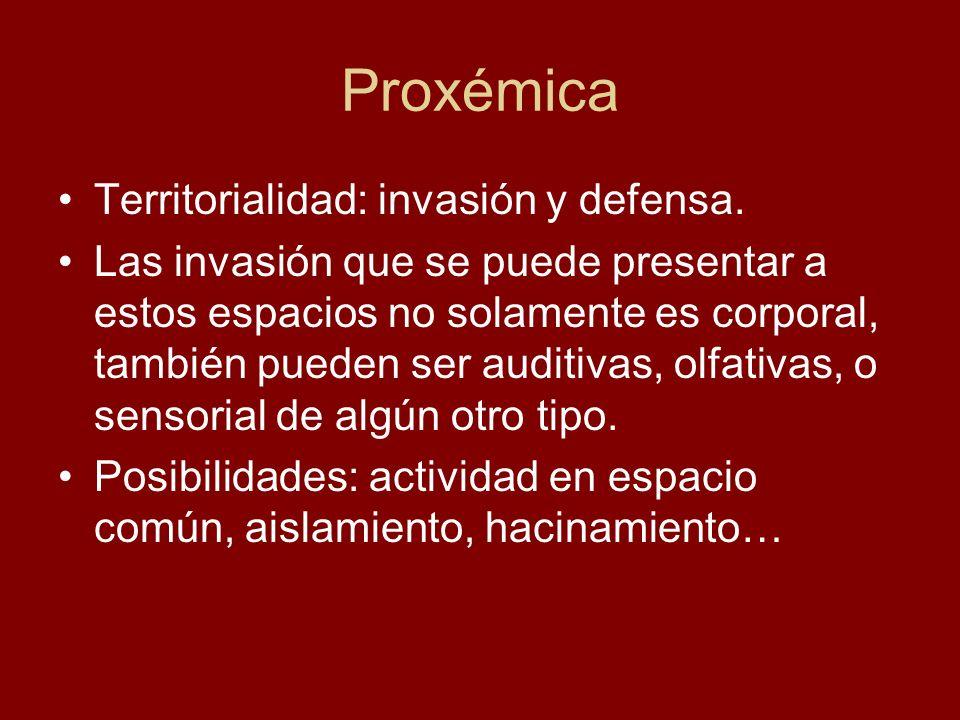 Proxémica Territorialidad: invasión y defensa. Las invasión que se puede presentar a estos espacios no solamente es corporal, también pueden ser audit