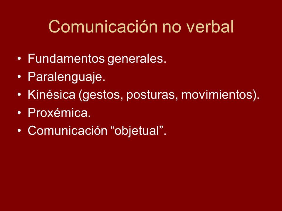 Comunicación no verbal Fundamentos generales. Paralenguaje. Kinésica (gestos, posturas, movimientos). Proxémica. Comunicación objetual.