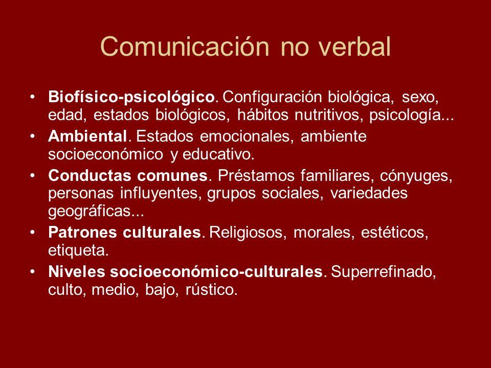 Comunicación no verbal Biofísico-psicológico. Configuración biológica, sexo, edad, estados biológicos, hábitos nutritivos, psicología... Ambiental. Es