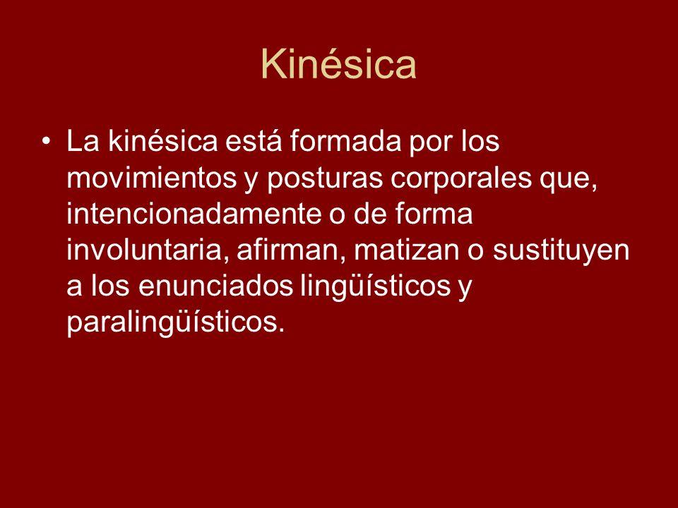 Kinésica La kinésica está formada por los movimientos y posturas corporales que, intencionadamente o de forma involuntaria, afirman, matizan o sustitu
