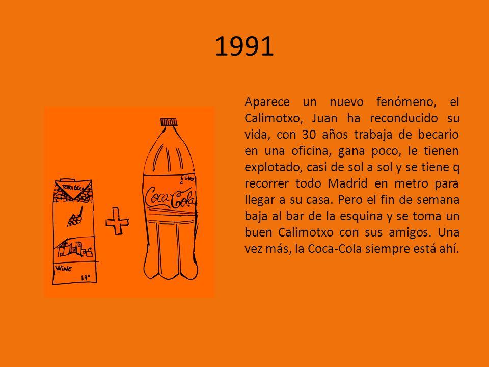 1991 Aparece un nuevo fenómeno, el Calimotxo, Juan ha reconducido su vida, con 30 años trabaja de becario en una oficina, gana poco, le tienen explotado, casi de sol a sol y se tiene q recorrer todo Madrid en metro para llegar a su casa.