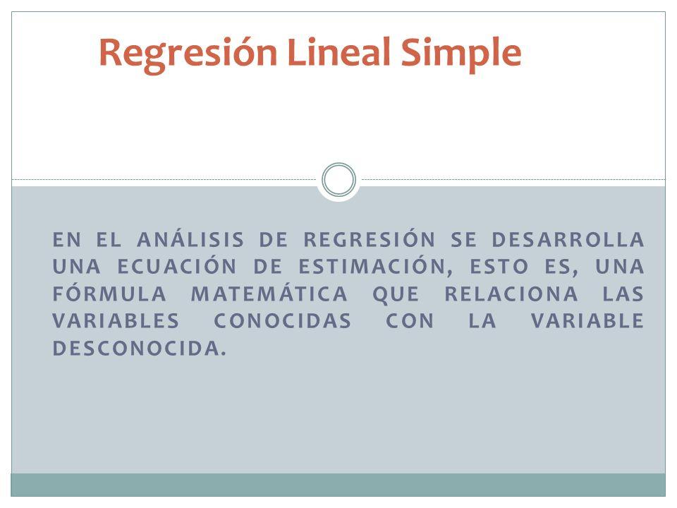 Regresión Lineal Simple EN EL ANÁLISIS DE REGRESIÓN SE DESARROLLA UNA ECUACIÓN DE ESTIMACIÓN, ESTO ES, UNA FÓRMULA MATEMÁTICA QUE RELACIONA LAS VARIAB