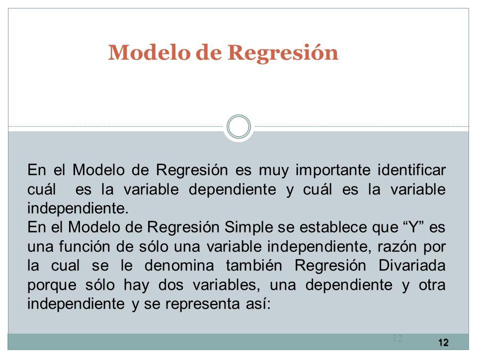 12 Modelo de Regresión 12 En el Modelo de Regresión es muy importante identificar cuál es la variable dependiente y cuál es la variable independiente.