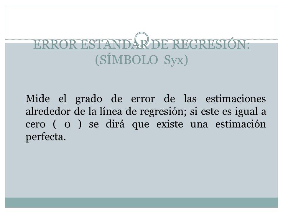 ERROR ESTANDAR DE REGRESIÓN: (SÍMBOLO Syx) Mide el grado de error de las estimaciones alrededor de la línea de regresión; si este es igual a cero ( 0