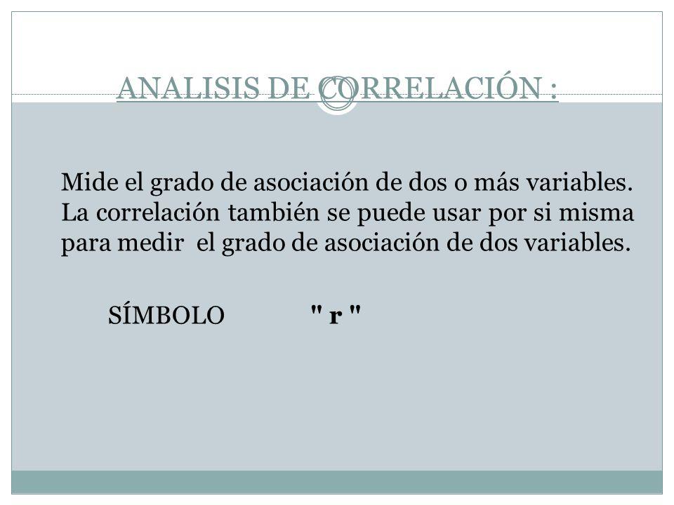 ANALISIS DE CORRELACIÓN : Mide el grado de asociación de dos o más variables. La correlación también se puede usar por si misma para medir el grado de