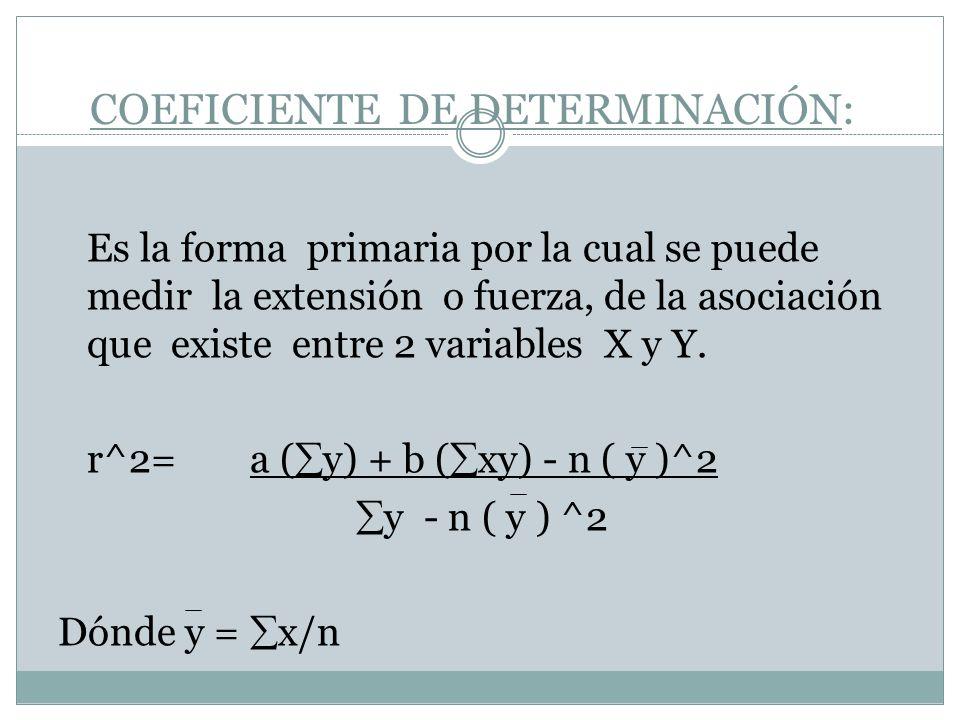 COEFICIENTE DE DETERMINACIÓN: Es la forma primaria por la cual se puede medir la extensión o fuerza, de la asociación que existe entre 2 variables X y