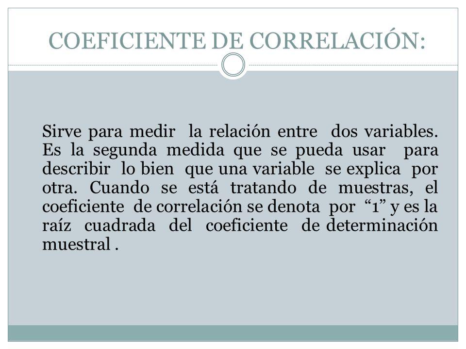 COEFICIENTE DE CORRELACIÓN: Sirve para medir la relación entre dos variables. Es la segunda medida que se pueda usar para describir lo bien que una va