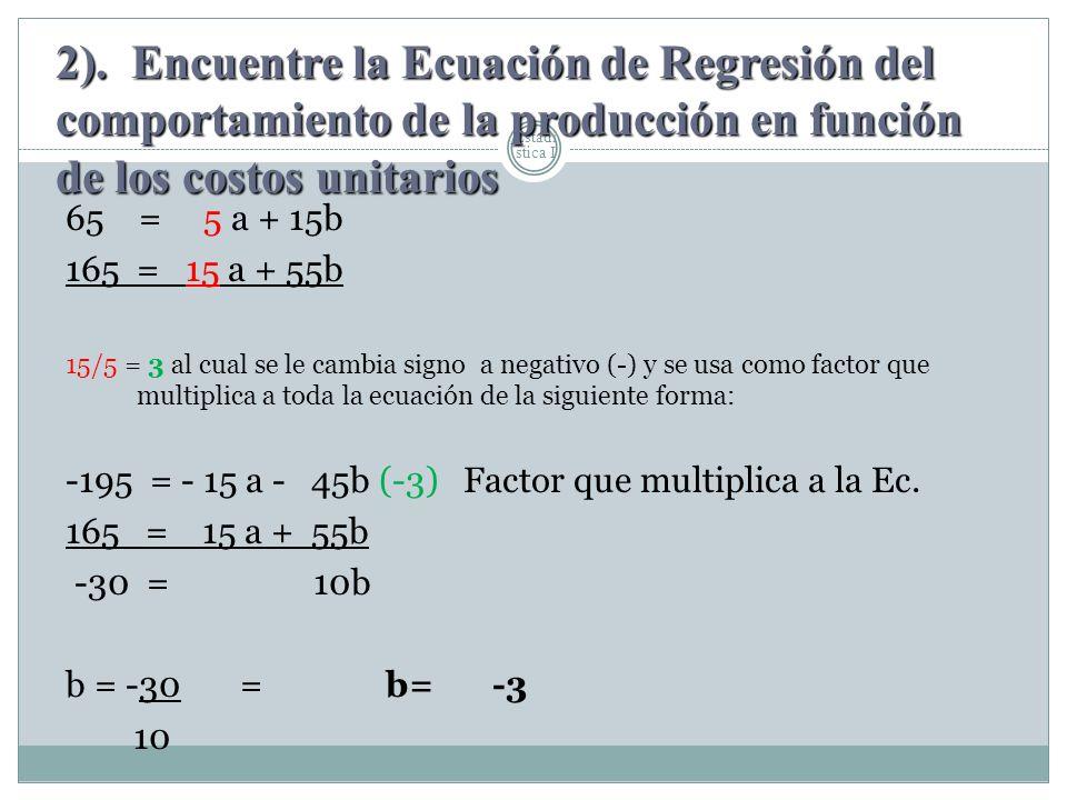 Estadí stica I 65 = 5 a + 15b 165 = 15 a + 55b 15/5 = 3 al cual se le cambia signo a negativo (-) y se usa como factor que multiplica a toda la ecuaci