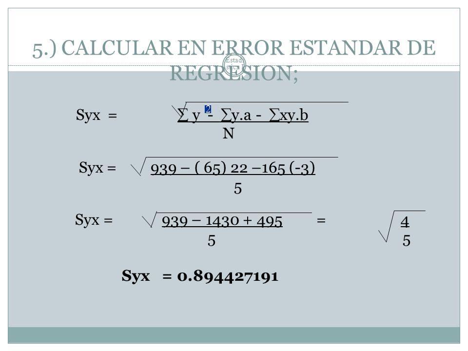 Estadí stica I 5.) CALCULAR EN ERROR ESTANDAR DE REGRESION; Syx = y - y.a - xy.b N Syx = 939 – ( 65) 22 –165 (-3) 5 Syx = 939 – 1430 + 495 = 4 55 Syx