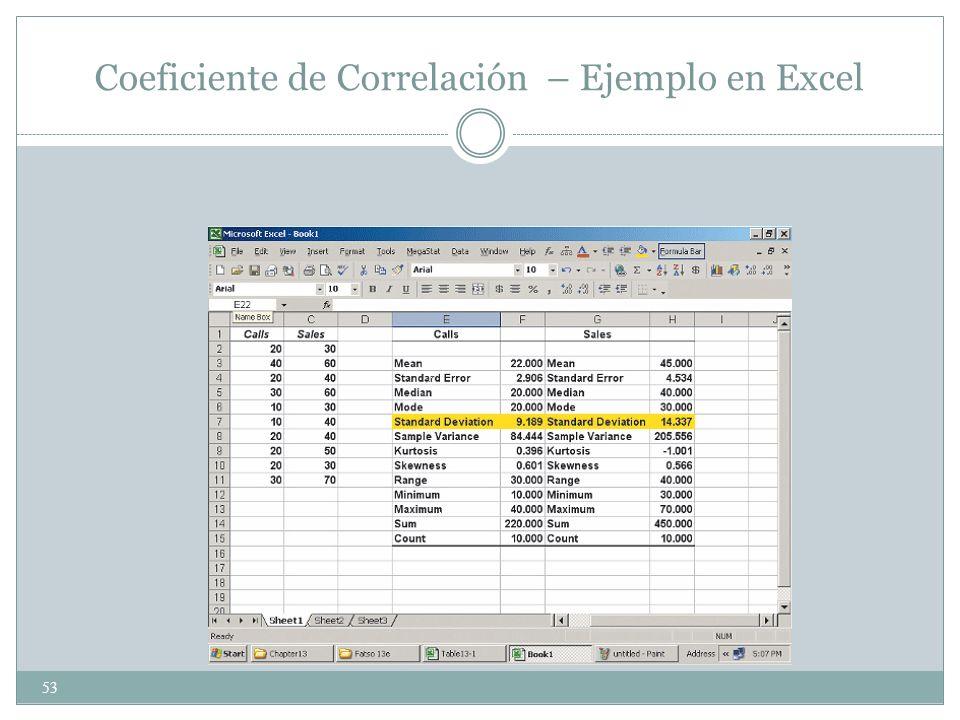 53 Coeficiente de Correlación – Ejemplo en Excel