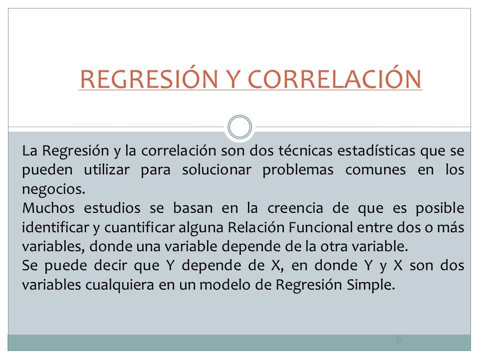 6 La Regresión y la correlación son dos técnicas estadísticas que se pueden utilizar para solucionar problemas comunes en los negocios. Muchos estudio