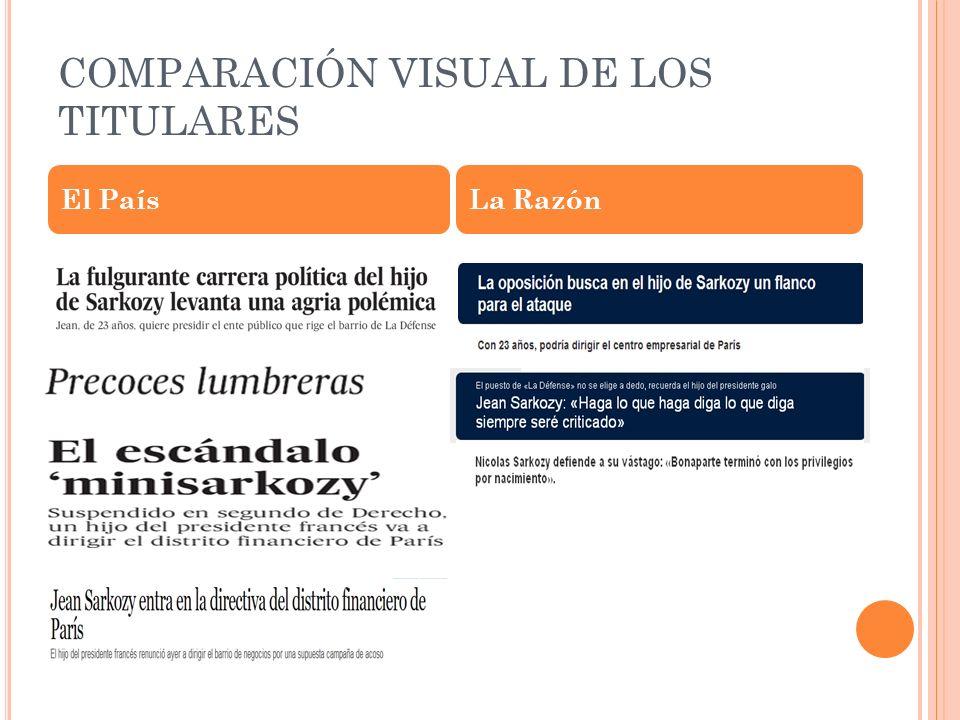 COMPARACIÓN VISUAL DE LOS TITULARES El PaísLa Razón